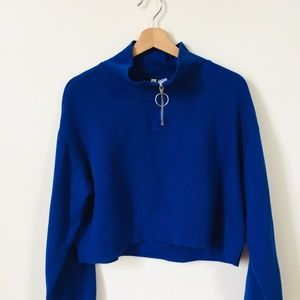 *FOREVER 21 CLOSET SALE* Blue 3/4 Cropped Hoodie